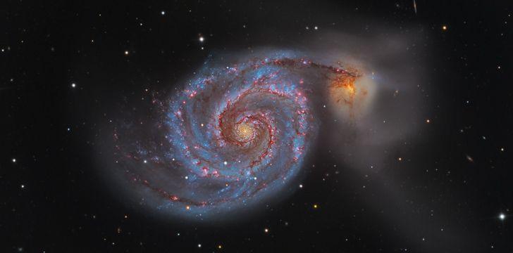 A Whirlpool Galaxy (M51) foi o primeiro objeto celestial identificado como sendo espiral